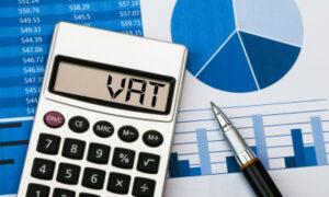 Calculator displaying VAT